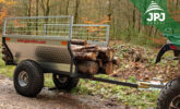 transporting longer pieces of wood on ATV trailer Farmer